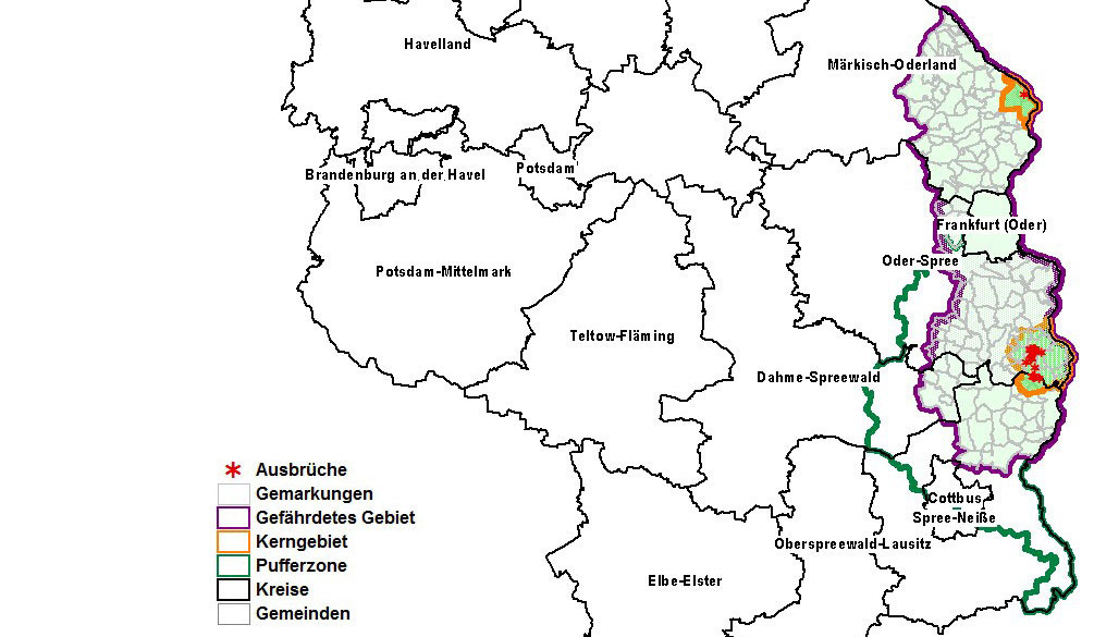 Karte ASP-Restriktionsgebiete Brandenburg