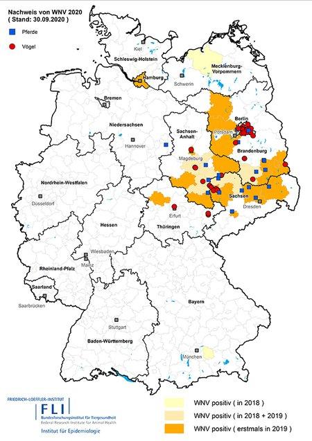 Karte der West Nil Virus Verbreitung seit 2018