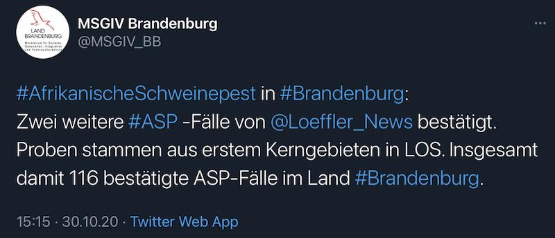 Tweet des MSGIV-Brandenburg mit aktueller ASP-Fallzahl (116 / Stand 30.20.2020)