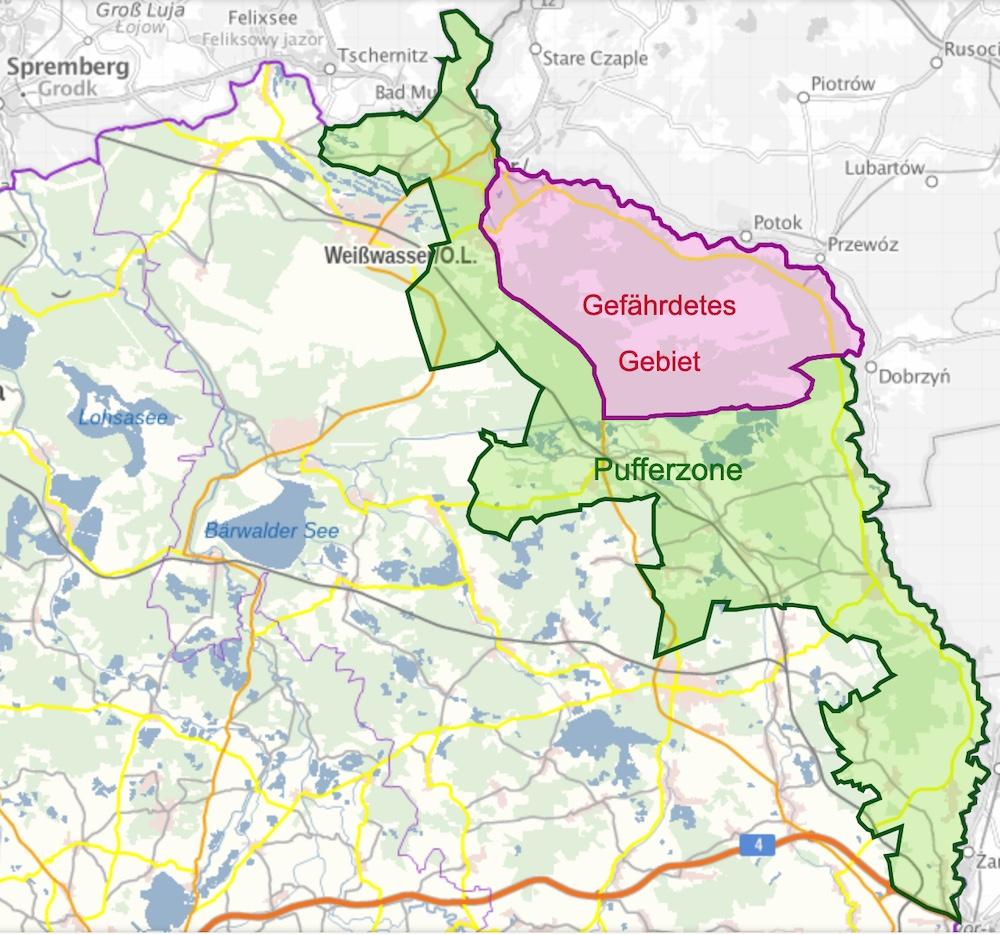 Karte der ASP-Sperrzonen in Sachsen, Landkreis Görlitz (Stand: 8.11.2020)