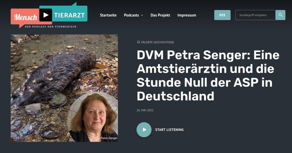 Titelseite Podcast mit DVM Petra Senger - Amtstierärztin im von der Afrikanischen Schweinepest (ASP) schwer getroffenen Landkreis Oder-Spree